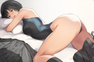 Rating: Safe Score: 90 Tags: amagami ass bed black_eyes black_hair kneehighs nanasaki_ai nozomi-y short_hair swimsuit waifu2x User: BattlequeenYume