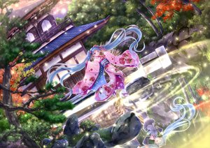 Rating: Safe Score: 31 Tags: building green_eyes green_hair hatsune_miku japanese_clothes kimono long_hair reflection skirt thighhighs tie tree twintails vocaloid water yorarry User: BattlequeenYume