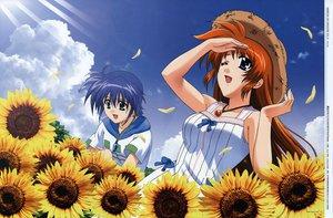Rating: Safe Score: 6 Tags: blue_hair clouds dress flowers hat komori_atsushi mahou_shoujo_lyrical_nanoha mahou_shoujo_lyrical_nanoha_strikers necklace subaru_nakajima sunflower takamachi_nanoha User: Oyashiro-sama