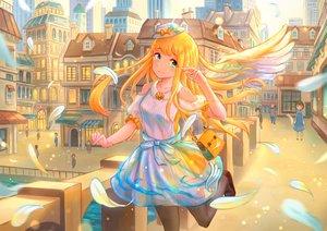 Rating: Safe Score: 21 Tags: blonde_hair bow building city feathers green_eyes hat kutsunohito long_hair original thighhighs waifu2x water wings User: RyuZU