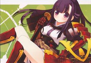 Rating: Safe Score: 26 Tags: armor breasts kashiwamochi_yomogi katana long_hair magi-cu purple_eyes purple_hair samurai scan sword weapon User: 秀悟