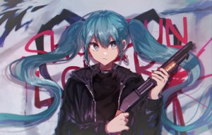 Rating: Safe Score: 29 Tags: danjou_sora gun hatsune_miku vocaloid weapon User: FormX
