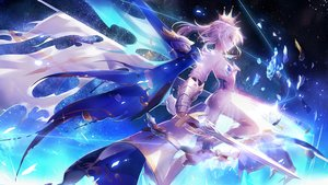 Rating: Safe Score: 283 Tags: armor artoria_pendragon_(all) blonde_hair boots cape clare_(543) crown fate/grand_order fate_(series) fate/stay_night original red_eyes saber see_through skirt space stars sword weapon User: mattiasc02