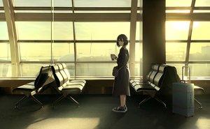 Rating: Safe Score: 45 Tags: aircraft aliasing black_hair clouds dress drink original polychromatic sakeharasu short_hair sky socks sunset wristwear User: FormX