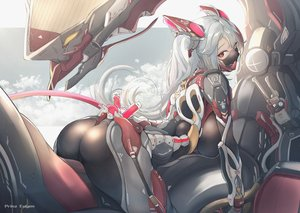 Rating: Safe Score: 150 Tags: anthropomorphism ass azur_lane bodysuit gray_hair long_hair mask mecha mechagirl prinz_eugen_(azur_lane) red_eyes twintails yusha_(m-gata) User: BattlequeenYume