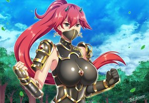 Rating: Safe Score: 38 Tags: armor breasts clouds gray_eyes horns long_hair original ponytail red_hair signed sky the-sinner tree User: RyuZU