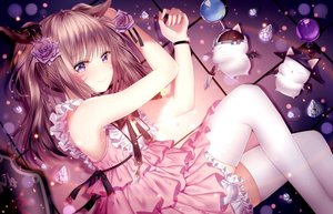 Rating: Safe Score: 108 Tags: animal_ears catgirl dress final_fantasy final_fantasy_xiv flowers junpaku_karen lolita_fashion long_hair miqo'te moogle ponytail purple_eyes rose thighhighs User: BattlequeenYume