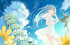 Rating: Safe Score: 99 Tags: bicycle blue_hair blush building clouds dress drink flat_chest flowers long_hair original rurudo sky summer_dress twintails yellow_eyes User: BattlequeenYume