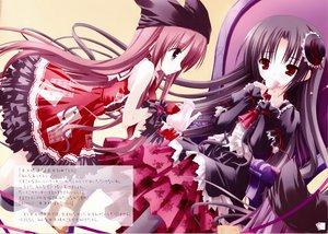 Rating: Safe Score: 61 Tags: 2girls black_hair brown_hair dress drink hat red_eyes tinkle User: Oyashiro-sama