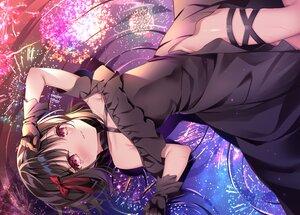 Rating: Safe Score: 72 Tags: black_hair blush dress fireworks gloves nopan original red_eyes reflection shikitani_asuka short_hair tears water User: BattlequeenYume