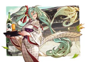Rating: Safe Score: 25 Tags: drink green_eyes green_hair hatsune_miku japanese_clothes kimono leaves long_hair recentia twintails vocaloid User: RyuZU