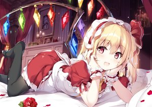 Rating: Safe Score: 150 Tags: apron blonde_hair blush dress flandre_scarlet headband maid miyase_mahiro red_eyes thighhighs touhou vampire waifu2x wings User: BattlequeenYume