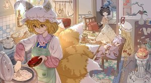 Rating: Safe Score: 53 Tags: animal_ears apron black_hair blonde_hair bow catgirl chen dahuang drink food foxgirl loli long_hair multiple_tails pajamas short_hair signed tail touhou yakumo_ran yakumo_yukari yellow_eyes User: RyuZU