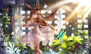 Rating: Safe Score: 80 Tags: amiya_(arknights) animal_ears applecaramel_(acaramel) arknights blue_eyes brown_hair bubbles bunny_ears butterfly dress flowers instrument long_hair twintails violin User: BattlequeenYume