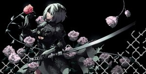 Rating: Safe Score: 104 Tags: blindfold breasts cleavage dress flowers gloves gray_hair headband katana nier nier:_automata rose short_hair sword tsurukame weapon yorha_unit_no._2_type_b User: FormX