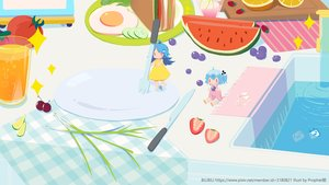 Rating: Safe Score: 14 Tags: 2girls aqua_hair bili_bili_douga bili_girl_22 bili_girl_33 blue_hair cherry chibi dress drink food fruit long_hair orange_(fruit) ponytail prophet_heart red_eyes short_hair strawberry summer_dress water watermark watermelon User: otaku_emmy