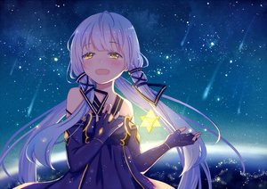 Rating: Safe Score: 139 Tags: aliasing blue_hair blush elbow_gloves gloves long_hair mimengfeixue stars twintails vocaloid vocaloid_china xingchen yellow_eyes User: Flandre93
