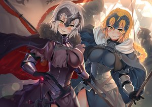 Rating: Safe Score: 50 Tags: aliasing armor blonde_hair blush braids breasts cape dress fate/grand_order fate_(series) gloves gray_hair jeanne_d'arc_alter jeanne_d'arc_(fate) kawai_(purplrpouni) long_hair ponytail short_hair sword weapon yellow_eyes User: otaku_emmy