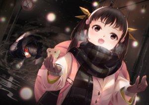 Rating: Safe Score: 34 Tags: araragi_koyomi bakemonogatari gloves hachikuji_mayoi loli male monogatari_(series) scarf snow tagame_(tagamecat) User: FormX