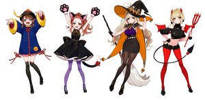 Rating: Safe Score: 31 Tags: animal_ears bell blonde_hair blue_eyes boots brown_hair cape catgirl chinese_clothes collar demon dress gloves halloween hat headband horns kaname_mahiro marinasu_(kari) ofuda otonoha_naho pantyhose short_hair shorts skirt suzuna_subaru tail thighhighs touma_rin weapon white wings witch witch_hat wristwear yellow_eyes yuu_(higashi_no_penguin) zettai_ryouiki User: otaku_emmy