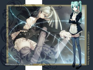 Rating: Safe Score: 60 Tags: aqua_eyes aqua_hair carnevale_della_luce_della_luna gray_hair long_hair lunaria maid thighhighs twintails zettai_ryouiki User: Oyashiro-sama