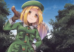 Rating: Safe Score: 24 Tags: blonde_hair cat_smile clouds fate/grand_order fate_(series) gloves hat leaves loli paul_bunyan_(fate/grand_order) persocon93 short_hair sky tree weapon yellow_eyes User: otaku_emmy