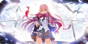 Rating: Safe Score: 139 Tags: animal bird darling_in_the_franxx feathers green_eyes horns long_hair pink_hair scarf school_uniform signed skirt tel-o zero_two User: BattlequeenYume