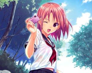 Rating: Safe Score: 183 Tags: camera cropped koutaro pink_hair school_uniform short_hair tree wet wink User: Wiresetc