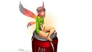 Rating: Safe Score: 25 Tags: blush coca_cola drink erylia fairy hat hoodie mathias_leth original pink_hair pointed_ears red_eyes short_hair watermark white wings User: gnarf1975