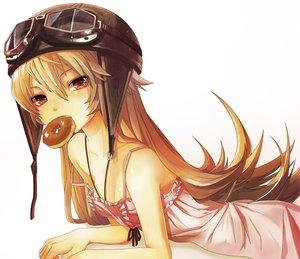 Rating: Safe Score: 129 Tags: 32_(mayama) bakemonogatari blonde_hair dress food goggles hat long_hair monogatari_(series) oshino_shinobu red_eyes summer_dress User: HawthorneKitty