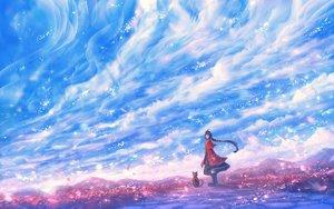 Rating: Safe Score: 48 Tags: animal bou_nin cat clouds dress long_hair original petals ponytail scenic sky User: RyuZU