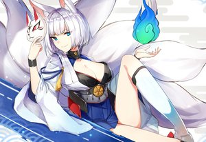 Rating: Safe Score: 115 Tags: animal_ears anthropomorphism aqua_eyes azur_lane breasts cleavage foxgirl kaga_(azur_lane) kneehighs luse_maonang magic mask multiple_tails short_hair tail white_hair User: RyuZU