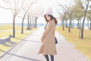 Rating: Safe Score: 70 Tags: bibido brown_eyes brown_hair hat original scarf signed tree winter User: otaku_emmy