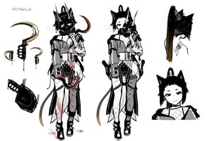 Rating: Safe Score: 17 Tags: animal_ears bikini_top black_eyes blood catgirl choker danielle_brindle hoodie horns japanese_clothes long_hair mask original polychromatic ponytail signed sketch stockings tail weapon white yukata User: otaku_emmy