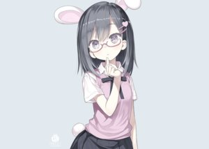 Rating: Safe Score: 78 Tags: animal_ears black_eyes black_hair blue bunny_ears bunnygirl capriccio glasses original school_uniform short_hair skirt tail third-party_edit watermark User: otaku_emmy