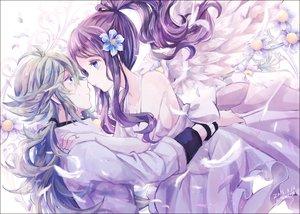 Rating: Safe Score: 45 Tags: blue_eyes dress flowers green_hair kabocha_torute long_hair male n petals pokemon ponytail purple_hair signed tears touko_(pokemon) wings User: RyuZU
