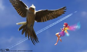 Rating: Safe Score: 35 Tags: aircraft animal barefoot bird clouds dress erylia fairy mathias_leth original pink_hair pointed_ears ponytail sky summer_dress watermark wings User: gnarf1975
