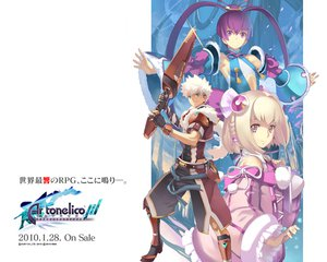 Rating: Safe Score: 12 Tags: aoto_(ar_tonelico) armor ar_tonelico ar_tonelico_iii blonde_hair blue_eyes bow dark_skin finnel gust_(company) long_hair nagi_ryou pink_eyes purple_eyes purple_hair saki_(ar_tonelico) short_hair twintails weapon white_hair User: Tacubus