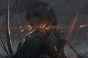 Rating: Safe Score: 192 Tags: bow_(weapon) dark fire gray_hair guweiz original watermark weapon yellow_eyes User: Flandre93