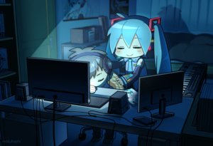 Rating: Safe Score: 39 Tags: computer hatsune_miku instrument nokuhashi piano vocaloid watermark User: FormX