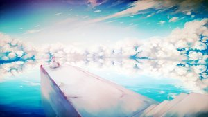 Rating: Safe Score: 140 Tags: clouds dress hat hatsune_miku kabenekoneko long_hair scenic sky stairs twintails vocaloid water watermark User: FormX