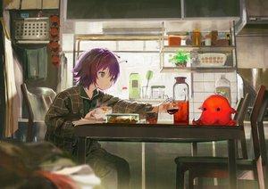 Rating: Safe Score: 45 Tags: drink food gray_eyes kouka_(mrakano5456) original pajamas purple_hair short_hair User: BattlequeenYume