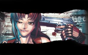 Rating: Safe Score: 54 Tags: black_lagoon gloves gun red_hair revy weapon yellow_eyes User: Tensa