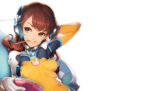 Rating: Safe Score: 54 Tags: ataruman bodysuit breasts brown_eyes brown_hair cropped d.va game_console gloves headphones long_hair overwatch skintight tattoo white User: deceze