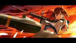 Rating: Safe Score: 33 Tags: animal_ears brown_eyes brown_hair clouds gun kirii miyafuji_yoshika school_swimsuit school_uniform short_hair sky strike_witches sunset swimsuit tail weapon User: RyuZU