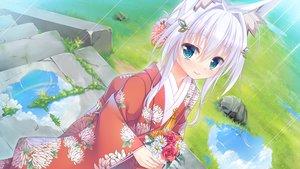 Rating: Safe Score: 45 Tags: aqua_eyes flowers foxgirl game_cg grass japanese_clothes kimono rain shiro_(tenkiame) short_hair stairs tenkiame water white_hair yuzu_modoki User: jimmy70205