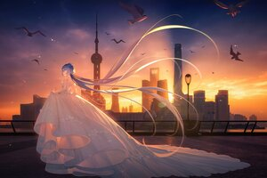 Rating: Safe Score: 62 Tags: animal bird building city clouds long_hair luo_tianyi purple_hair sky sunset tidsean vocaloid vsinger wedding_attire User: BattlequeenYume