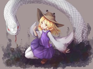 Rating: Safe Score: 44 Tags: animal baram blonde_hair hat moriya_suwako snake touhou yellow_eyes User: Flandre93