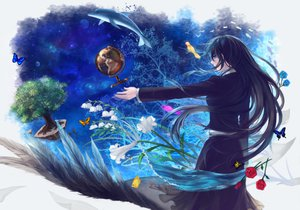 Rating: Safe Score: 39 Tags: animal black_hair blue_eyes butterfly dolphin feathers flowers long_hair original planet robinexile rose skirt tree water User: HawthorneKitty