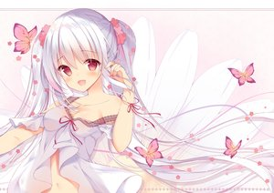 Rating: Safe Score: 45 Tags: blush breasts butterfly cleavage dress long_hair navel original red_eyes shirosei_mochi twintails white_hair User: BattlequeenYume